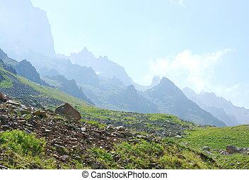 Beautiful view of the mountains. Ile-Alatau National Park....