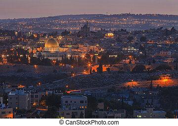 Beautiful view of the night Jerusalem. Israel.