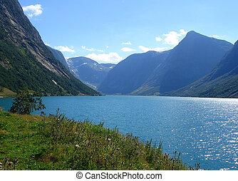 Norwegian fjord - beautiful view of the Norwegian fjord - ...