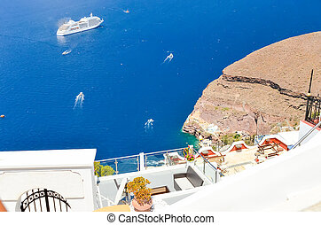 beautiful view of the sea from the mountains of Santorini