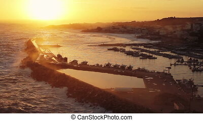 Beautiful view of the sunset over the bay of Santa Maria di Leuca, Italy
