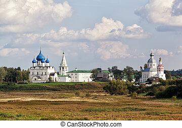 Beautiful view of the Suzdal Kremlin and Ilyinsky church. Russia
