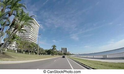 Beautiful view of the Tampa skyline from Bayshore Boulevard in Tampa, Florida.