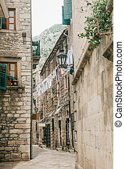 Beautiful view of the traditional narrow old street in Montenegro