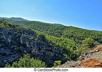 beautiful view of the Turkish mountains covered with green forest on a summer day,