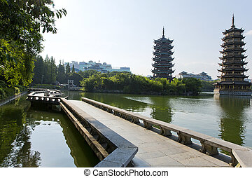 Guilin, China - Beautiful view of the twin pagodas in Guilin...