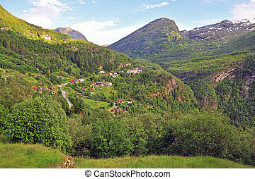 Beautiful view of the village at Geirangerfjord