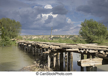 Beautiful view of the wooden bridge.