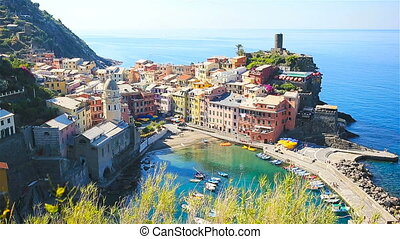 Beautiful view of Vernazza from above. One of five famous colorful villages of Cinque Terre National Park in Italy. SLOW MOTION
