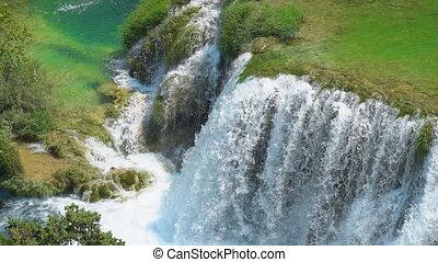 Beautiful view of waterfall in KRKA national park, Croatia.