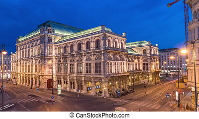 Beautiful view of Wiener Staatsoper aerial day to night ...