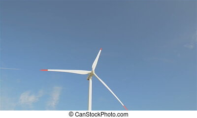 windturbine and clouds - Beautiful view of windturbine and...