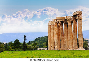 Beautiful view of Zeus temple in Athens, Greece