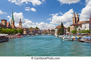 Zurich and river Limmat, Switzerland - Beautiful view of...