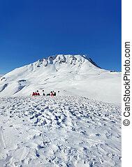 beautiful view on alpine french snowy mountain