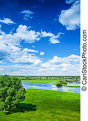 Beautiful view on flood field with blue cloudy sky in spring ins