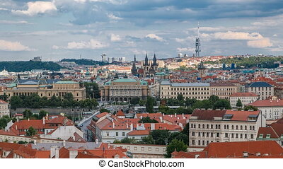 Beautiful View On Prague In Czech Republic timelapse With...