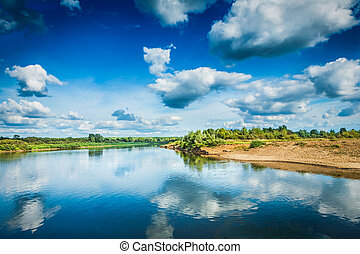 beautiful view on river at sunny day
