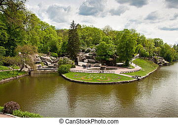 Beautiful view on the lake in Sofiyivsky Park in Uman,...