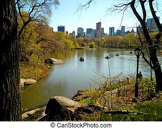 Beautiful view over Central Park and tall buildings in the background.