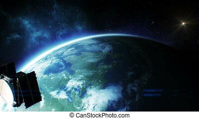 Beautiful view Satellite Orbiting