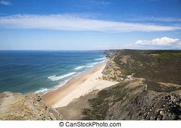 beautiful view to the Castelejo beach in Portugal