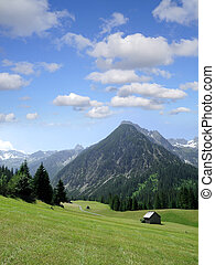 beautiful view to the Lechtal alps in Gramais, Tirol, Austria