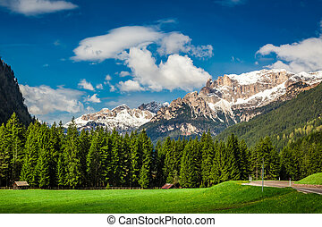 Beautiful view to valley in Dolomites, Alps, Italy, Europe