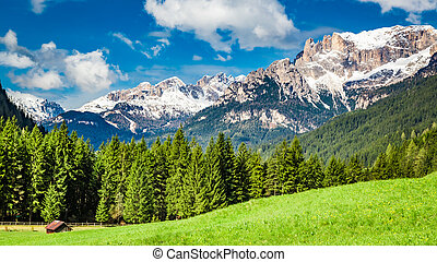 Beautiful view to valley in Dolomites, Alps, Italy