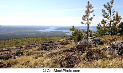 Beautiful views of river valley. Mountain tundra of Lapland...