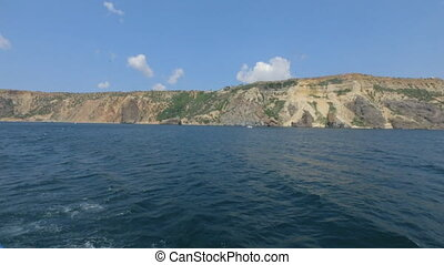 Beautiful views of the Crimean mountains from the sea