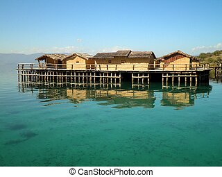 Beautiful Village Over Lake