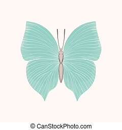 beautiful vintage blue butterfly isolated on white background.