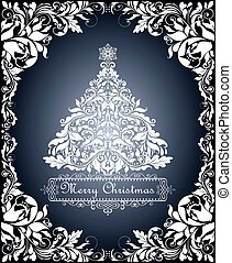 Beautiful vintage Christmas card with cut out floral decorative border and xmas tree