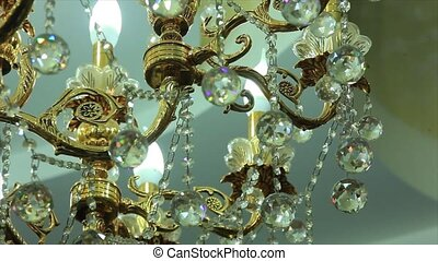 Beautiful vintage crystal chandelier in a room.