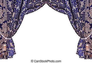 Beautiful vintage curtain isolated on white background