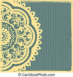 Beautiful Vintage Indian Ornament Template with blue...