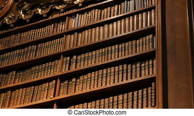Beautiful vintage old bookshelves with nameless books. Interior of the Austrian National Library with a number of old vintage books on the shelves. The largest library in Austria.
