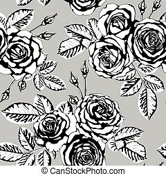 beautiful vintage seamless pattern with black and white bouquets of roses buds, leaves. design greeting card and invitation of the wedding, birthday, Valentine's Day, mother's day and other holiday.