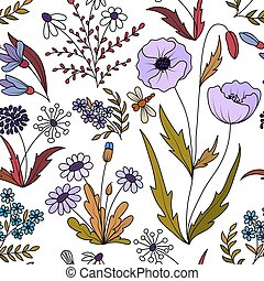 Beautiful vintage seamless pattern with colorful wild spring flowers on a white background. Wild spring poppy, daisy, dandelion, forget-me. Vector illustration. Violet lilac green background.