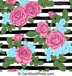 beautiful vintage seamless pattern with rosebuds, leaves and stems on black and white watercolor stripes