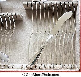 vintage silver fish cutlery