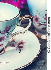 Beautiful, vintage teacup close upt