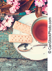 Beautiful, vintage teacup with Japanese cherry tree blossom and Scottish shortbread, close upt