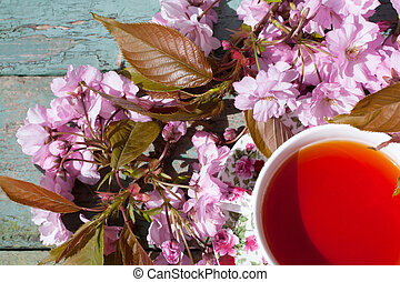 Beautiful, vintage teacup with Japanese cherry tree...