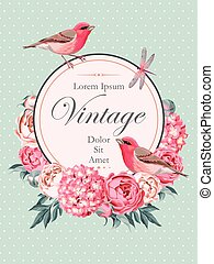 Beautiful vintage vector card with birds and peony on light...