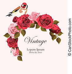 Beautiful vintage vector card with goldfinch - Beautiful...