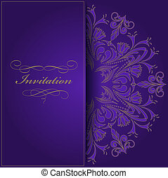 violet invitation - beautiful violet invitation with a round...