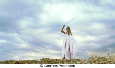 Beautiful Violinist In A White Dress - Beautiful girl in a...