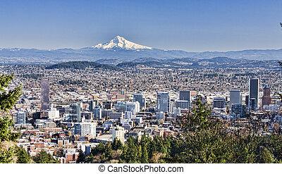 Beautiful Vista of Portland, Oregon - View of Portland,...